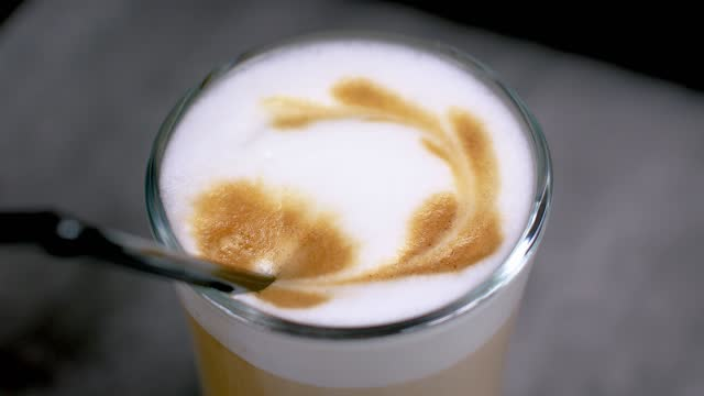 Top view latte art coffee Top view latte art coffee. kaffee stock videos & royalty-free footage