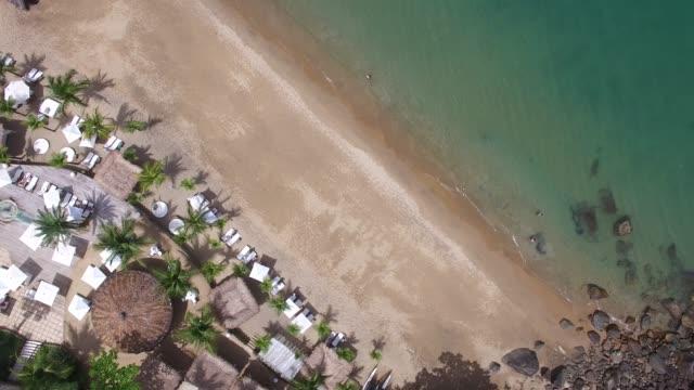 top view of a costal beach - ibiza filmów i materiałów b-roll