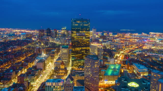 Top view of Boston city center at night video
