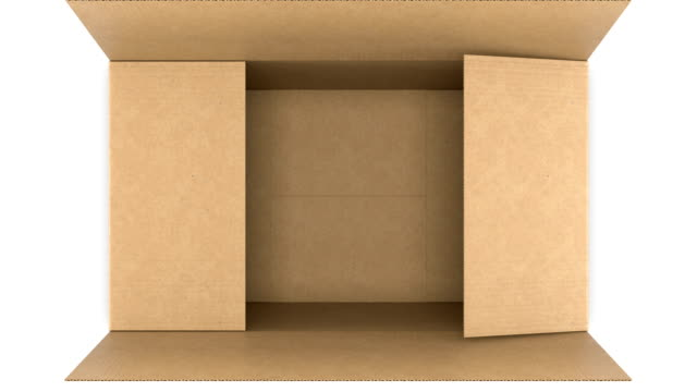 vídeos de stock e filmes b-roll de top view of cardboard box opening and closing on white and black backgrounds with alpha mask seamless. looped 3d animation of storage box. delivery concept. - padrão repetido