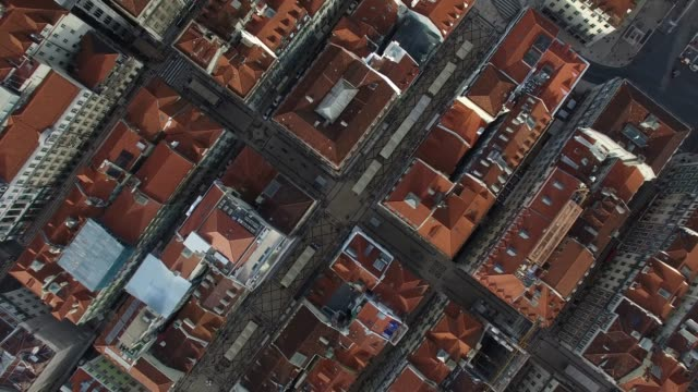 top view of chiado houses in lisbon, portugal - lisbona video stock e b–roll