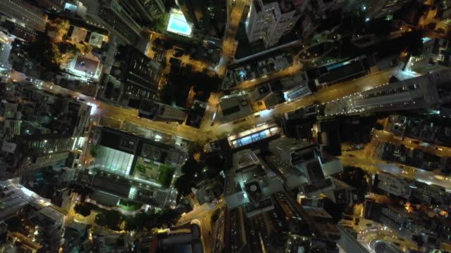 야간 실시간 시티 스트리트의 최고 전망 - 항공기시점 스톡 비디오 및 b-롤 화면