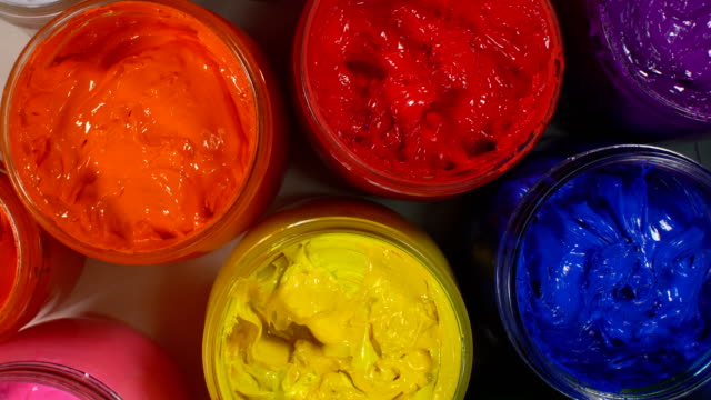 top view of colorful ink for print tee shirt