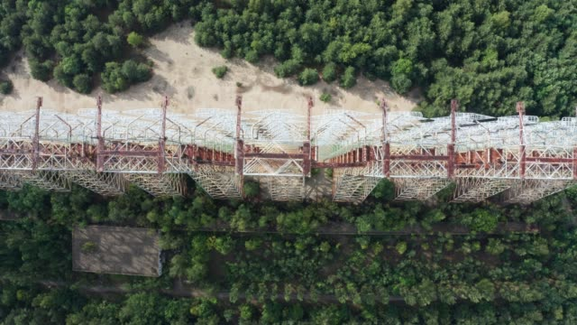 Top view of Duga, radar system near Chernobyl Drone view of Duga giant construction, over-the-horizon radar system known as The Russian Woodpecker. Aerial shot of array at Chernobyl, part of Soviet missile defense early-warning radar network time zone stock videos & royalty-free footage
