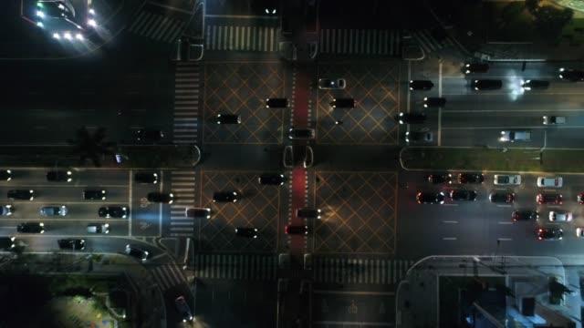 top view of faria lima x juscelino kubitschek avenue in sao paulo, brazil - são paulo video stock e b–roll