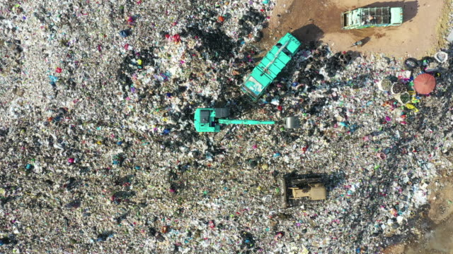 Top view of garbage mountain Top view of garbage mountain dump truck stock videos & royalty-free footage