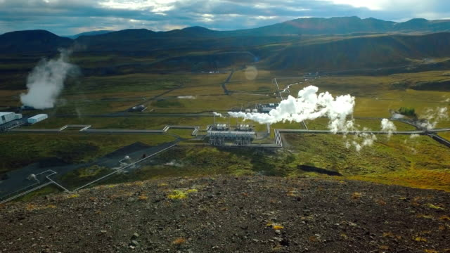 top view of geothermal power station in iceland near Reykjavik in sunny weather