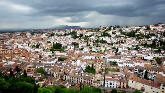 Top view of  Granada Top view of  Granada with cloudy sky. Andalusia,  Spain general view stock videos & royalty-free footage