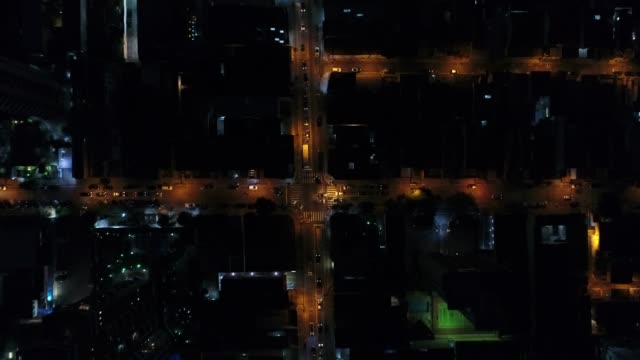 Top View of Intersection, Rooftops and illuminated streets video