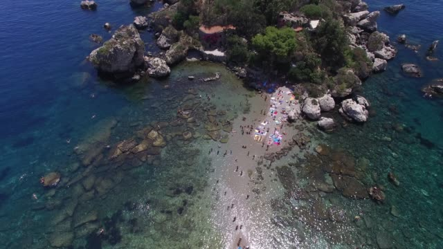 Top View of Isola Bella at Taormina, Sicily, Italy
