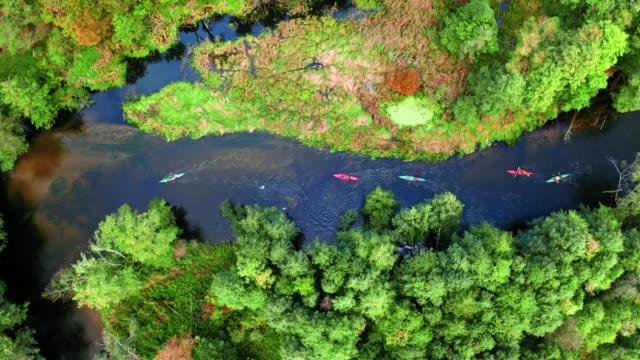 vídeos y material grabado en eventos de stock de vista superior del kayak en otoño en el río por el bosque - polonia