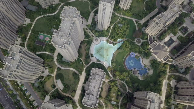 top view of many modern tall buildings - ocean front properties stock videos & royalty-free footage