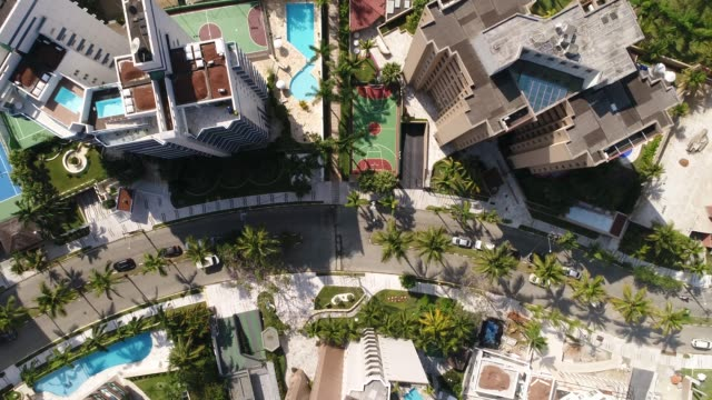 top view of many modern tall buildings - appartamento video stock e b–roll