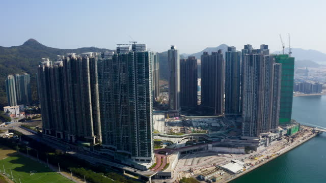 Top view of residential at Tseung Kwan O in Hong Kong China Top view of residential at Tseung Kwan O in Hong Kong China ocean front properties stock videos & royalty-free footage