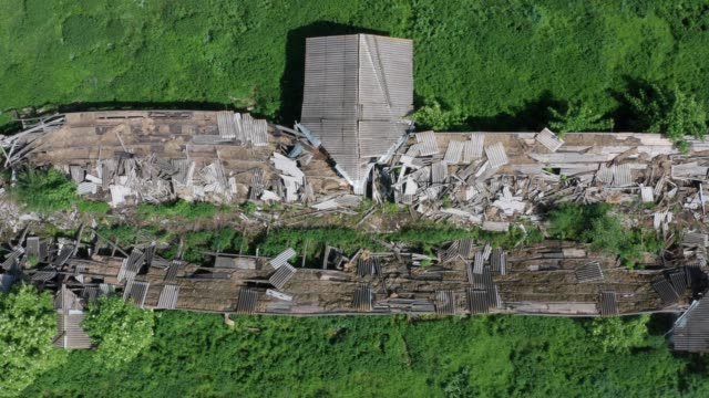 Top view of ruined cowshed
