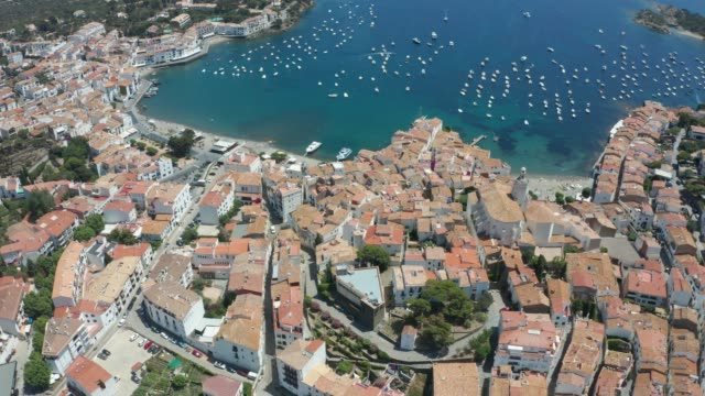 Top view of Spanish town Cadaques and blue bay
