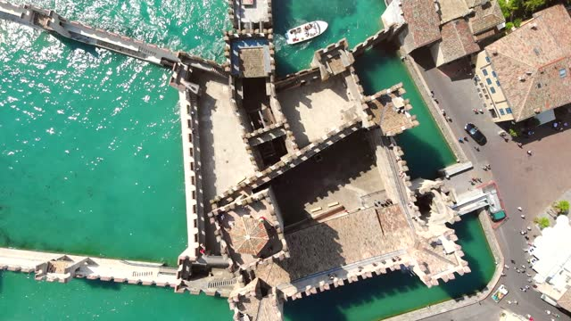 Top view of the medieval castle of Scaligero (Sirmione, Italy)