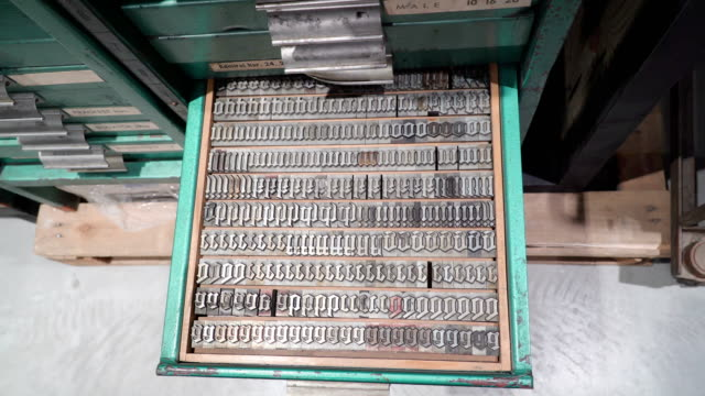 Top view of the metal letter stamps on the tray Top view of the metal letter stamps on the tray cabinet inside the old press style printing station typewriter stock videos & royalty-free footage