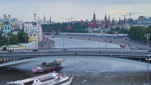 RUSSIA. MOSCOW - 2013: 4K TL Top view of the Moskva River embankment. video