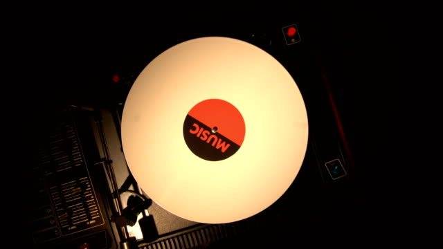 Top view of turntable and vinyl record. video