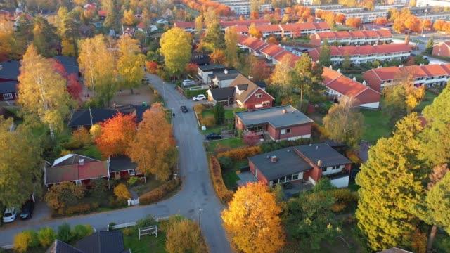 top view of villa area, car driving - ambientazione tranquilla video stock e b–roll