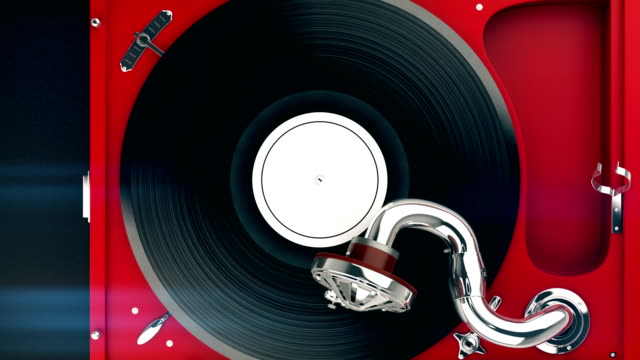 top view of vintage turntable and vinyl record. - giradischi video stock e b–roll