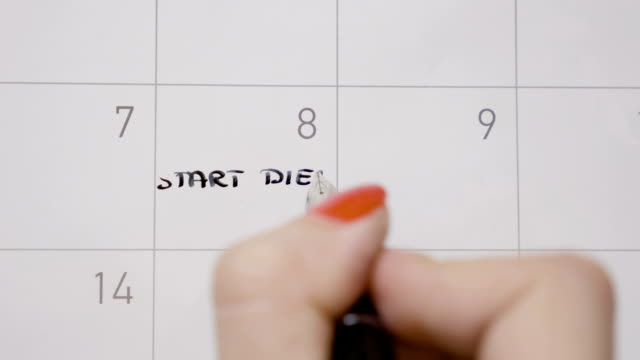 top view of woman hands writing start diet again in calendar and then deleting it using a black pen - disintossicazione video stock e b–roll