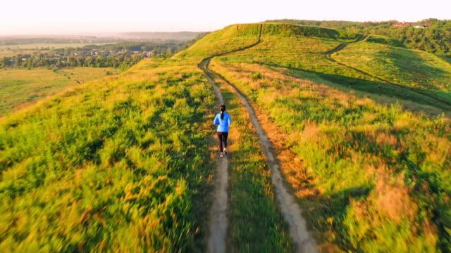 top view runner trains summer landscape - vivid 4k video stock videos & royalty-free footage