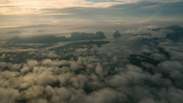 Top views landscape with the mist at phang-nga bay