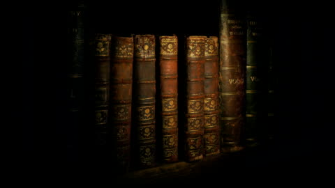 Torch Lights Up Old Books On Shelf Someone shines a torch on rows of old books in the dark ancient stock videos & royalty-free footage