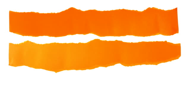 Torn paper strips background. 3 orange strips of torn paper unroll on a white background. Includes luma matte. torn stock videos & royalty-free footage