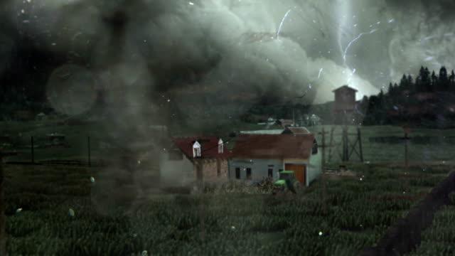 торнадо крушение дома - сила природы стоковые видео и кадры b-roll