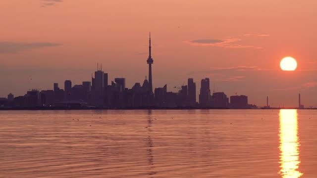 Video Toronto downtown skyline and sunrise