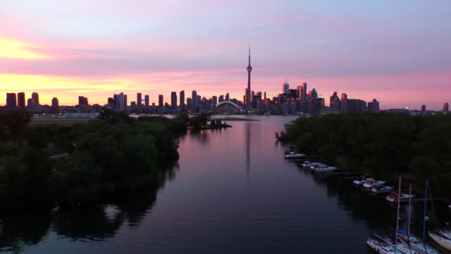 Toronto during sunset aerial footage video