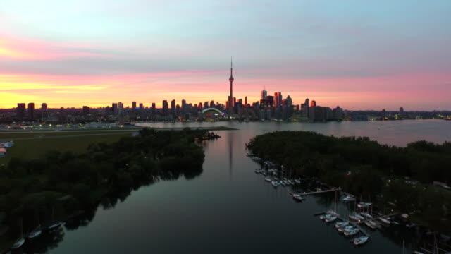 toronto during sunset aerial footage - toronto stock videos & royalty-free footage