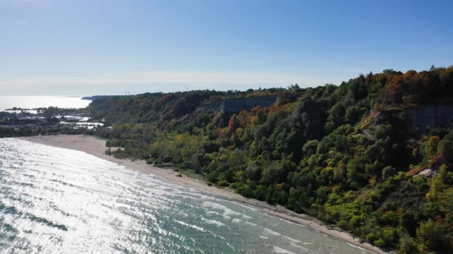 Toronto shore cliffs with colorful autumn leaves video