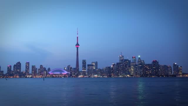 Toronto skyline at dusk, Canada video