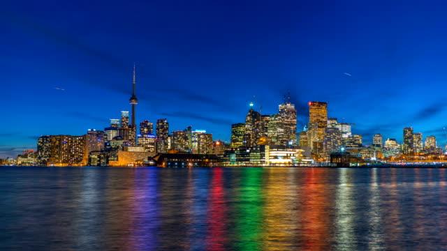 Toronto Skyline Time Lapse At Night 4K 1080P Logos removed video