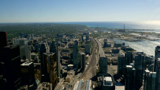 Toronto's Urban Jungle From a Height Looking East video