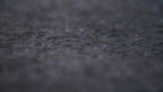 Torrential Rain Falling On Pavement – Video