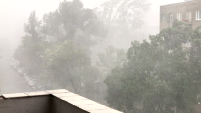 torrential rains with hail accompanying sudden outbursts of storms in  polish city - grandine video stock e b–roll