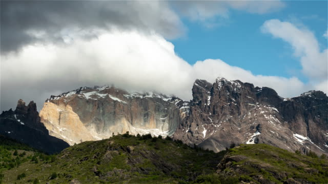 Torres del Paine, Chile, Timelapse  - The top of the mountains as seen from Dickson campsite 4K Timelapse Sequence of Torres del Paine, Chile - The top of the mountains as seen from Dickson campsite sorpresa stock videos & royalty-free footage