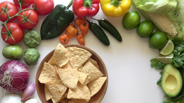 vídeos y material grabado en eventos de stock de chips de tortilla y guacamole dip - comida mexicana
