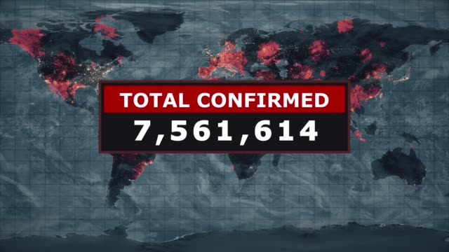 Total confirmed virus graphic, Novel Coronavirus nCoV spreading all over the world, Worldwide flu epidemic spreads every continent, Global deadly viral infection, Satellite view of influenza virus affected areas.