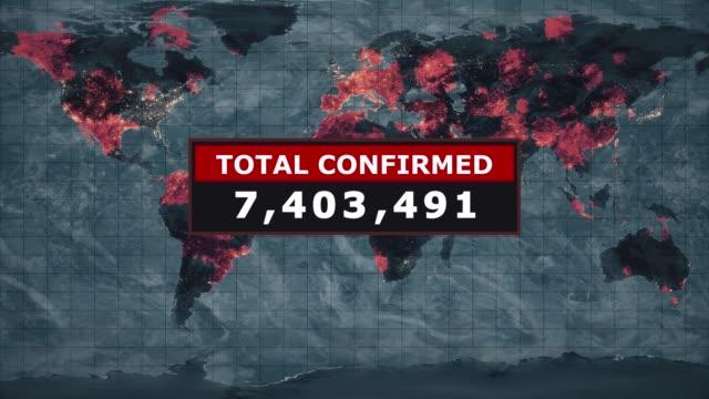 toplam teyit virüs grafik, roman coronavirus ncov tüm dünyada yayılıyor, dünya çapında grip salgını her kıtada yayılır, küresel ölümcül viral enfeksiyon, grip virüsü etkilenen alanların uydu görünümü. stok video - biyomedikal animasyonu stok videoları ve detay görüntü çekimi