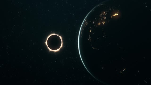 Total Solar Eclipse Seen From Outer Space (Horizontal Movement)
