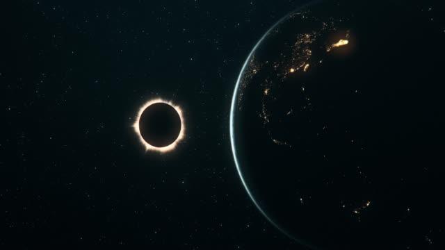 vídeos de stock e filmes b-roll de total solar eclipse seen from outer space (horizontal movement) - coroa