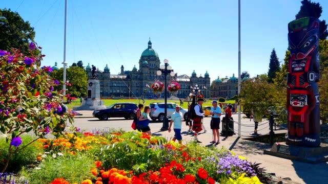 Totem Pole and BC Legislature Buildings, Victoria BC video
