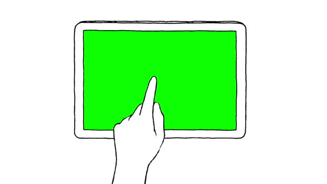 Touch screen gestures, hand drawn (green screen) Hand drawn touch screen gestures on a digital tablet with green screen pinching stock videos & royalty-free footage