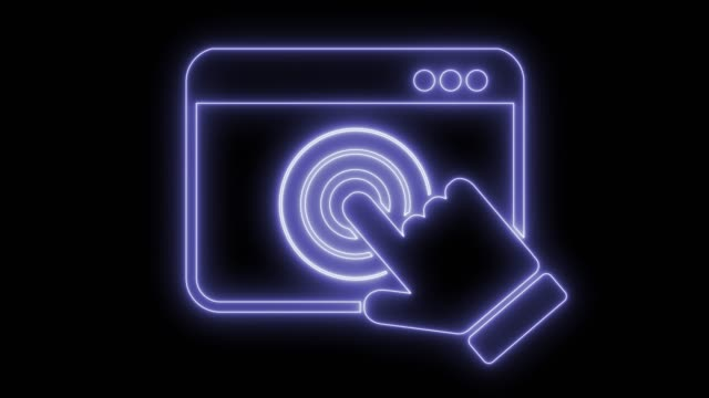 Touch screen window Touch screen window. Animated symbol icon 4K. Neon effect, linear and alpha channel. web browser stock videos & royalty-free footage
